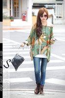 Hot Sell Free Shipping 2014 European and American Scenery Bohemian Chiffon Shirt Women T-shirt