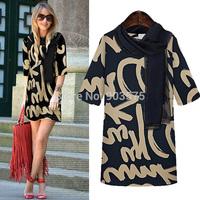 Free Shipping 2014 summer women Fashion O-Neck Half Sleeve Cotton linen Short dress