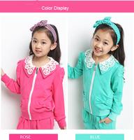 Retail 5-15Y girl clothing set New 2014 Spring/Autumn fashion corduroy 2pcs teenager's set active kids sets (outercoat+pants)
