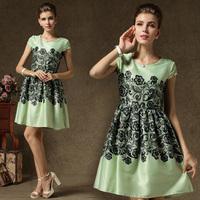 New 2014 Spring Summer Dress High Quality Vintage Elegant O-neck Print Slim Expansion Bottom One-piece Dress Short-sleeve 58003#