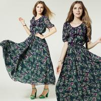 Girl Dresses New Fashion Print Dress Partysu Short-sleeve Ruffle Collar Slim Waist Expansion Bottom Full Dress 86027#