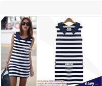 2014 New Stripe Dress for Women Fashion Casual Sleeveless Blue Dress Euro Style S/M/L YS8032