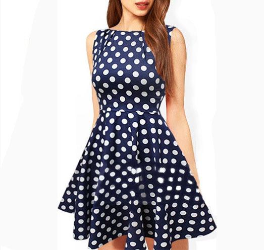 Summer Polka Dot Retro Slim Dress New Arrival Women Sleeveless Elegant Mini Pleated Dresses Free Shipping WQW388(China (Mainland))