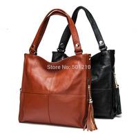 Free shipping, 100% Genuine Leather Tassels Handbags Women's Cowhide Bags