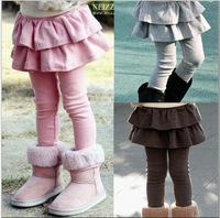 Free Shipping Retail Girl Legging Girls Skirt-Pants Cake Skirt Kids Leggings Baby Kids Leggings For Girls (Without Velvet )