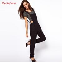 Rompers Womens Jumpsuit 2014 Chest Pocket Black Halter Jumpsuit Women Waist Overalls HDY1-17