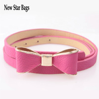 2014 Fashion candy colorful bow belt PU leather belt for gril for women  10pcs/lots H044E