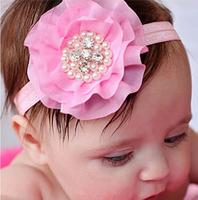 "Baby Girls 3"" Ballerina Chiffon Fabric Flower Headband Handmade Sew Pear Rhinestone Christmas Gift Free Shipping FDA31"