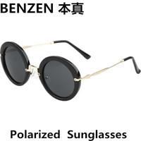 2014 New Women Polarized Sunglasses Vintage Round woman  Sun glasses  Driving shades UV 400 oculos with case black  1025B
