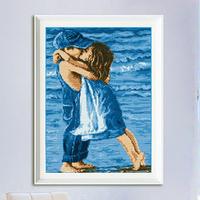 Needlework, DIY DMC Cross stitch,Sets For Embroidery kits,first romantic kiss sea pattern Cross-Stitching,factory wholesale