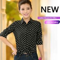 Women Tops Peter Pan Blue Black Polka Dot Blouse Long Sleeve Women Shirt With Pockets For Office Word Wear 2014 New Feshion