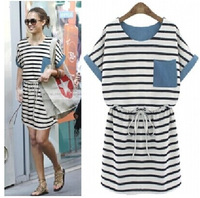 Lanluu Europe Fashion 2014 Summer Casual Batwing Sleeve Strip Women Dress Patchwork Denim Dress SQ324