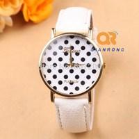 2014 popular fashion leather stripe Geneva WATCH Polka Dots styles unisex dress Analog Leather Women Quartz Wrist Watch G-8002#
