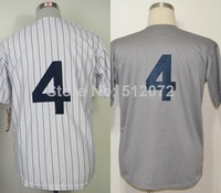 New York #4 Lou Gehrig Men's Authentic Throwback 1939 Home White/Road Grey Baseball Jersey