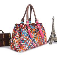 Bolsas Sale Bolsa free Shipping 2014 New Women's Genuine Leather Handbag Fashion Multicolour Woven Bag Sheepskin Personality Big