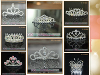 Factory Promotion! Wholesale Dazzling Stunning 8Pcs Mix Style Rhinestone Tiaras Crowns Acrylic Head Accessories