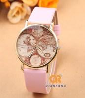 New Arrive High Quality Wholesale Fashion Map Design Leather Strap Watch Men Women Dress Quartz Wrist Watch G-8004#