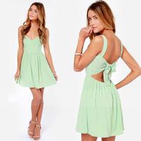 FanShou Free Shipping Summer Dress 2014 Women Fashion Sleeveless Mint Green Sexy Backless Chiffon Mini Dress Plus Size XXL 6126