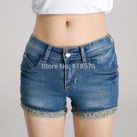 2014 women shorts wholesale,dark blue lace cuffs thin denim short jeans,slim show thin all-match good quality woman clothing,HOT