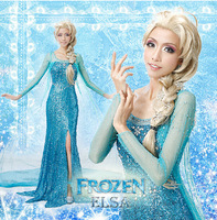 New frozen queen dress elsa handmade women's cosplay costume dress