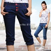 Women jeans capris 2014 summer hot sale new desigual elasticity cotton denim pencil pants,high quality fashion women clothing