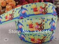 2014 new arrival 1'' (25mm) bear and tiger printed grosgrain ribbon cartoon ribbon hairbow ribbon wholesale 50 yards