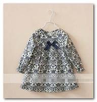 Child princess dress tops 2014 Spring new Blue and white porcelain girls dress shirt kids Bow cotton long sleeve doll shirt 2632