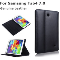 Luxury Cow Genuine Leather for Samsung Tab4 Case Classic Business Leather Case Stand Smart Cover for Samsung Tab4 7.0 T230 T231