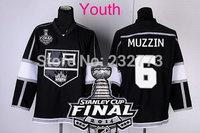 New Youth 2014 Stanley Cup Finals Patch #6 JAKE MUZZIN Los Angeles Kings Black LA Ice Hockey Jerseys Kids Stadium Series HOT
