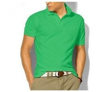 Sell like hot cakes! Pure color of men's T-shirt with short sleeves and contracted collar T-shirt brand. Free shipping