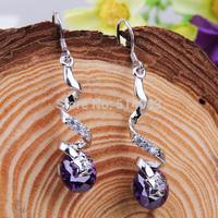 Drop Earrings sterling silver earrings snake and star silver with Purple Crystal Earring New Fashion Style earring for women