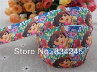 "2014 new arrival 1"" (25mm) dora printed grosgrain ribbon cartoon ribbon hair bows accessories wholesale 50 yards"