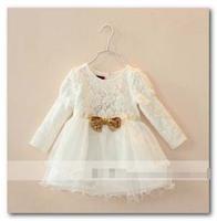 Princess dress girls gold Sequins Bowknot lace tulle tutu dress kids Puff Long Sleeve dress children holiday party dress 2865