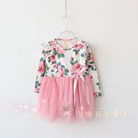 Spring new korean children Garden flower princess dress girls Bow falbala fly sleeve tulle tutu dress kids long sleeve dress2886