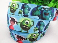 New arrival 7/8'' (22mm) monsters inc printed grosgrain ribbon cartoon character ribbon hair accessories wholesale 50 yards A068
