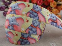 2014 new arrival 1'' (25mm)  elephant printed grosgrain ribbon cartoon Dumbo animals ribbon diy accessories wholesale 50 yards