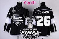New Youth 2014 Stanley Cup Finals Patch #26 SLAVA VOYNOV Los Angeles Kings Black LA Ice Hockey Jerseys Kids Stadium Series HOT