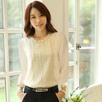 Women Long Sleeve Lace Blouse Women Lace Blouses 2014 Women Blouse Pearl White Lace Puff O-Neck Fashion Shirts