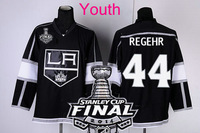 New Youth 2014 Stanley Cup Finals Patch #44 ROBYN REGEHR Los Angeles Kings Black LA Ice Hockey Jerseys Kids Stadium Series HOT