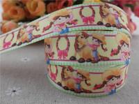 "2014 new arrival 7/8"" (22mm) cow girl printed grosgrain ribbon cartoon ribbon hair accessories wholesale 50 yards"