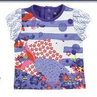 The new children's summer home catiminiC marine fish pattern Puff Girls short-sleeved t-shirt