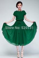 Summer dress 2014 Star Style Black Green Runway Design Long Lace Dress women Chiffon dress Free Shipping