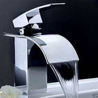 Free Shipping Wholesale And Retail  Cheap Bathroom Waterfall Sink Mixer Faucet Chrome Finished Basin Sink Faucet Tap