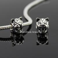 5Pcs/Lot Quality Roar Tiger Beads Quality 925 Silver 4MM Hole Tiger Head Beads Fits DIY European Bracelet SeenDom Jewelry