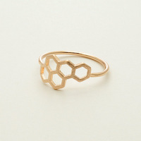 2014 Top fashion 18K rose gold Honeycomb and Circle design finger Ring