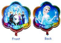 Cartoon Metallic Happy Birthday Decoration Frozen Princess Queen Anna Round Balloon for Kids Party Supplies Foil Ballon 24 inch