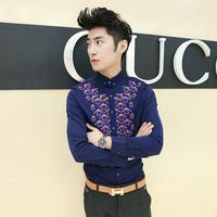 Free shipping! 2014 new men's fashion chest printed long-sleeved shirt Slim