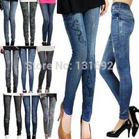 2014 New Fashion Leggings for Women Polyester/Spandex Jeans Hole Pleated Prints Casual Leggings Denim pencil pants nine Leggings