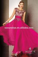 Oumeiya OEP913 Cap Sleeve Scoop Beaded Chiffon Hot Pink Prom Dress