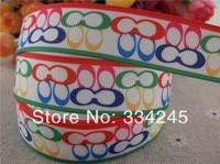 2014 new arrival 7/8'' (22mm)  colored character logo printed grosgrain ribbon brand ribbon hair bows ribbon wholesale 50 yards